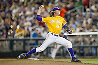 LSU Tigers pitcher Doug Norman (21) delivers a pitch to the plate against the TCU Horned Frogs in Game 10 of the NCAA College World Series on June 18, 2015 at TD Ameritrade Park in Omaha, Nebraska. TCU defeated the Tigers 8-4, eliminating LSU from the tournament. (Andrew Woolley/Four Seam Images)