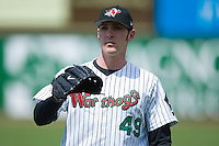 Aaron Poreda (49) of the Winston-Salem Warthogs warms up in the outfield prior to taking on the Frederick Keys at Ernie Shore Field in Winston-Salem, NC, Sunday, April 20, 2008.