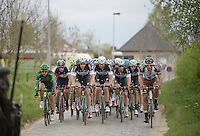 Team OmegaPharma-Quickstep strongly present at the front of the peloton over the Haaghoek cobbles<br /> <br /> Ronde van Vlaanderen 2014