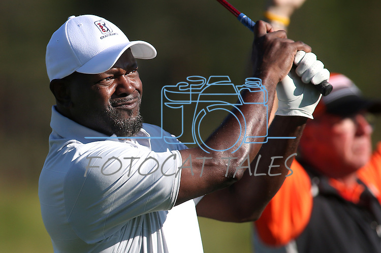 NFL Hall of Fame running back Emmitt Smith plays in a practice round in the American Century Celeb-Am Tournament at Edgewood Tahoe in Stateline, Nev., on Thursday, July 18, 2013.<br /> Photo by Cathleen Allison