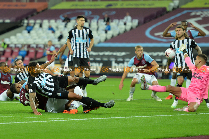 Karl Darlow of Newcastle United makes a save during West Ham United vs Newcastle United, Premier League Football at The London Stadium on 12th September 2020