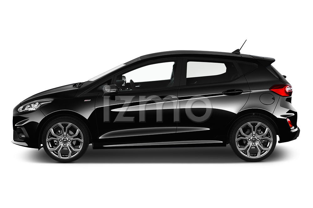 Car driver side profile view of a 2019 Ford Fiesta ST-Line 5 Door Hatchback
