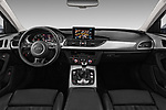 Stock photo of straight dashboard view of a 2018 Audi A6 Base 4 Door Sedan