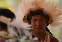 X JOGOS DOS POVOS INDÍGENAS <br /> Os Jogos dos Povos Indígenas (JPI) chegam a sua décima edição. Neste ano 2009, que acontecem entre os dias 31 de outubro e 07 de novembro. A data escolhida obedece ao calendário lunar indígena. com participação  cerca de 1300 indígenas, de aproximadamente 35 etnias, vindas de todas as regiões brasileiras. <br /> Paragominas , Pará, Brasil.<br /> Foto Paulo Santos<br /> 03/11/2009 Rikibaktsa do Mato Grosso.