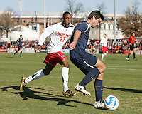 Rodney Wallace #22 of the University of Maryland races up to Pat Marion #20 of the University of California during an NCAA championship round of sixteen soccer match at Ludwig Field, on November 29, 2008 in College Park, Maryland. The match was won by Maryland 2-1