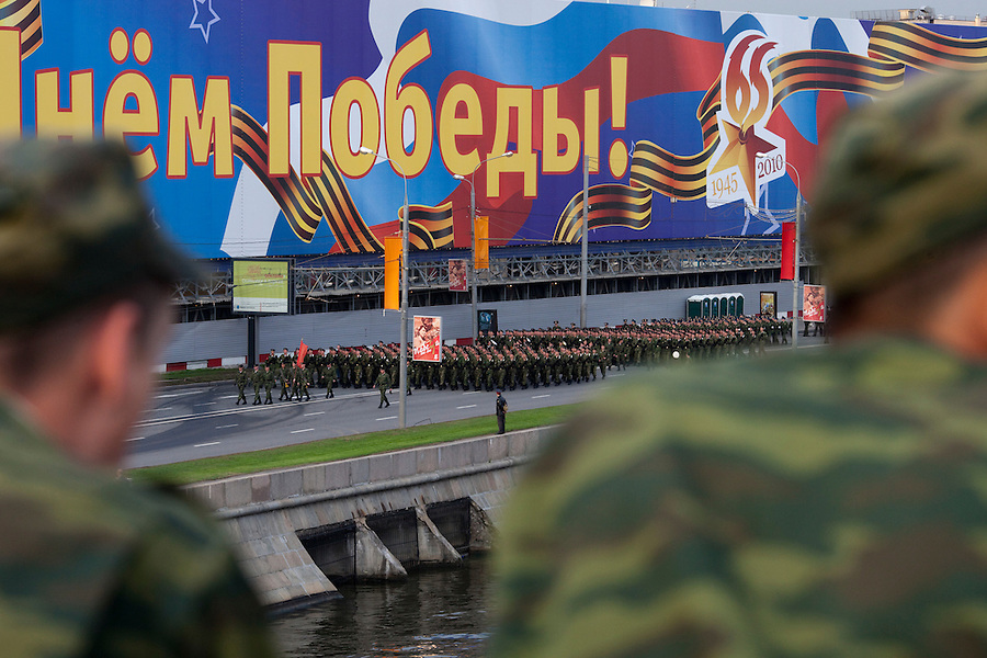 Moscow, Russia, 04/05/2010..Russian soldiers march toward Red Square for a night time rehearsal for the forthcoming May 9 Victory Day parade, scheduled to be the largest for many years.