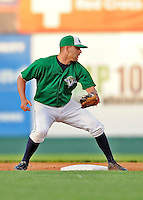 25 August 2008: Vermont Lake Monsters' infielder Danny Espinosa in action against the Hudson Valley Renegades at historic Centennial Field in Burlington, Vermont. The Lake Monsters defeated the Renegades 8-5 in the second game of their three-game series in Vermont...Mandatory Credit: Ed Wolfstein Photo