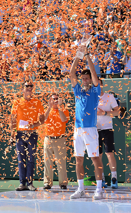KEY BISCAYNE, FL - APRIL 05: Novak Djokovic of Serbia holds aloft the Butch Buchholz trophy after his three set victory against Andy Murray of Great Britain in the mens final during the Miami Open at Crandon Park Tennis Center on April 5, 2015 in Key Biscayne, Florida.<br /> <br /> <br /> People:  Andy Murray, Novak Djokovic<br /> <br /> Transmission Ref:  FLXX<br /> <br /> Must call if interested<br /> Michael Storms<br /> Storms Media Group Inc.<br /> 305-632-3400 - Cell<br /> 305-513-5783 - Fax<br /> MikeStorm@aol.com