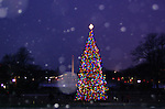 Light snow accents a DC holiday scene.
