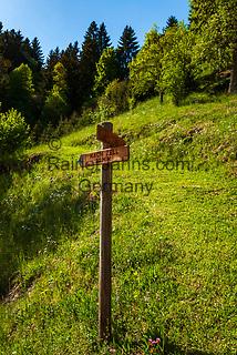 Oesterreich, Tirol, Fruehling im Zillertal, oberhalb von Zell am Ziller: Wanderweg, Hinweisschild   Austria, Tyrol, springtime at Ziller-Valley, above Zell am Ziller: hiking path, signpost