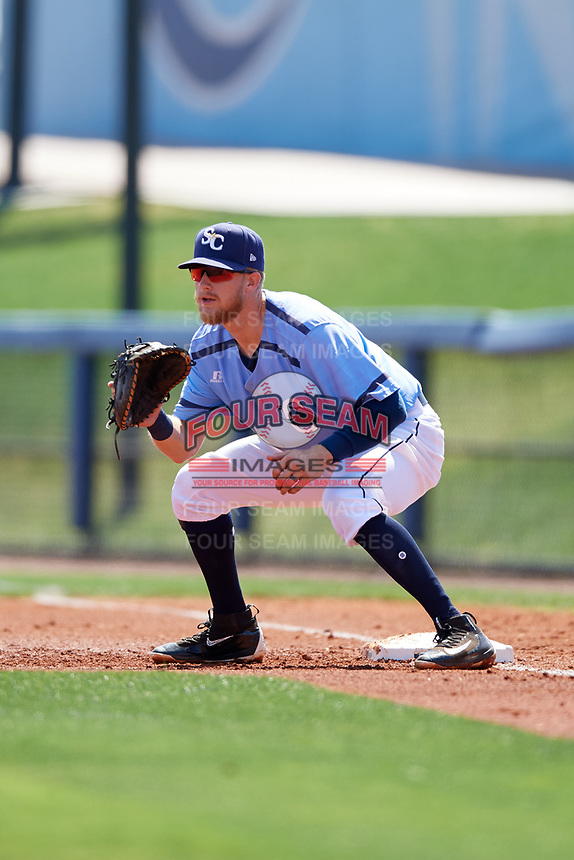 Charlotte Stone Crabs first baseman Dalton Kelly (7) during a game against the Palm Beach Cardinals on April 12, 2017 at Charlotte Sports Park in Port Charlotte, Florida.  Palm Beach defeated Charlotte 8-7.  (Mike Janes/Four Seam Images)
