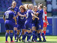 Tessa Wullaert (27) of Anderlecht pictured celebrating with teammates after scoring a goal during a female soccer game between RSC Anderlecht Dames and Standard Femina De Liege on the third matchday of play off 1 of the 2020 - 2021 season of Belgian Womens Super League , saturday 24 th of April 2021  in Brussels , Belgium . PHOTO SPORTPIX.BE   SPP   DAVID CATRY