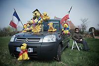 roadside fan waiting for the peloton..74th Gent-Wevelgem (2012).236km between Deinze & Wevelgem.winner 2012: Tom Boonen..