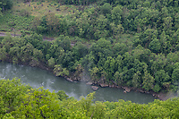 New River Gorge National Park, West Virginia.  Kayakers in New River seen from the Endless Wall Trail.