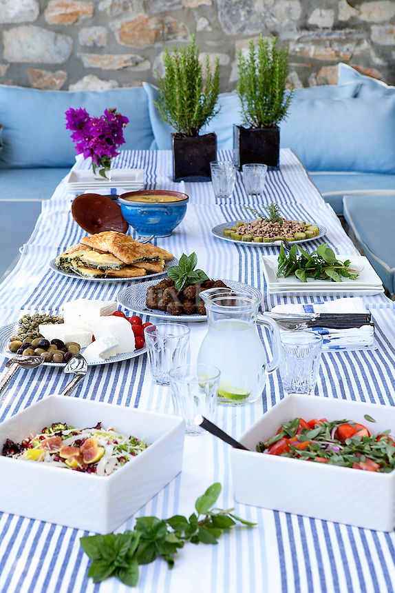 Outdoor table with foods