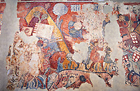 "Gothic fresco mural painting ""THE CONQUEST OF MAJORCA"" 1285-1290. National Museum of Catalan Art, Barcelona, Spain, inv no: 071447-CJT. <br /> The mural paintings of the Conquest of Majorca come from the former ancestral home of the Caldes family in Carrer Montcada in Barcelona, a building later known as Palau Aguilar. Discovered and removed in 1961, these paintings are one of the most important examples of early or Linear Gothic Catalan painting. This magnificent example of painting on historical subject matter narrates the conquest of the island of Majorca by James I the Conqueror in 1229. Like a painted chronicle, the episodes follow the detailed narrative of Catalan medieval accounts such as King James I's 'Llibre dels Feits' and Bernat Desclot's 'Crònica'."