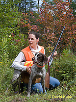 0801-0830  German Wirehaired Pointer with Owner Bird Hunting, Canis lupus familiaris © David Kuhn/Dwight Kuhn Photography.