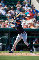 Atlanta Braves third baseman Austin Riley (74) at bat during a Grapefruit League Spring Training game against the Detroit Tigers on March 2, 2019 at Publix Field at Joker Marchant Stadium in Lakeland, Florida.  Tigers defeated the Braves 7-4.  (Mike Janes/Four Seam Images)