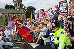© Joel Goodman - 07973 332324 - all rights reserved . 15/08/2009 . Derbyshire , UK . Antifascists block the access road to protest against the BNP 's Red White and Blue Festival in the village of Codnor . Photo credit : Joel Goodman
