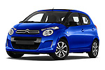 Stock pictures of low aggressive front three quarter view of a 2018 Citroen C1 Airscape Shine 5 Door Hatchback