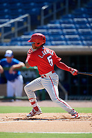 Philadelphia Phillies shortstop Luis Garcia (5) follows through on a swing during a Florida Instructional League game against the Toronto Blue Jays on September 24, 2018 at Spectrum Field in Clearwater, Florida.  (Mike Janes/Four Seam Images)