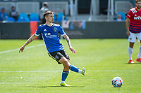 SAN JOSE, CA - APRIL 24: Paul Marie #3 of the San Jose Earthquakes passes the ball during a game between FC Dallas and San Jose Earthquakes at PayPal Park on April 24, 2021 in San Jose, California.