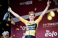 a happy Wout Van Aert (BEL/Jumbo-Visma) wins the 14th Strade Bianche 2020 after finishing 3rd twice in his 2 previous attemps at the race.<br /> Siena > Siena: 184km (ITALY)<br /> <br /> delayed 2020 (summer!) edition because of the Covid19 pandemic > 1st post-Covid19 World Tour race after all races worldwide were cancelled in march 2020 by the UCI