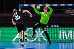 Marcel Schiller (Deutschland #31) ; Armis Priskus (Estland #16) ; EHF EURO-Qualifikation / EM-Qualifikation / Handball-Laenderspiel: Deutschland - Estland am 02.05.2021 in Stuttgart (PORSCHE Arena), Baden-Wuerttemberg, Deutschland, Photo: Sandy Dinkelacker 2021<br /> <br /> Foto © PIX-Sportfotos *** Foto ist honorarpflichtig! *** Auf Anfrage in hoeherer Qualitaet/Aufloesung. Belegexemplar erbeten. Veroeffentlichung ausschliesslich fuer journalistisch-publizistische Zwecke. For editorial use only.