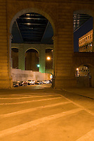 AVAILABLE FROM JEFF AS A FINE ART PRINT.<br /> <br /> AVAILABLE FROM JEFF FOR COMMERCIAL AND EDITORIAL LICENSING.<br /> <br /> Mysterious Street Scene under the Manhattan Bridge in the DUMBO neighborhood of Brooklyn, New York City, New York State, USA