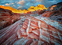 Colorful rocks and sunrise. Valley of Fire State Park, Nevada