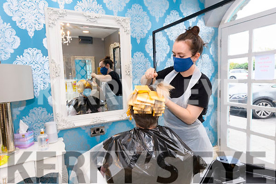 Ellen Houlihan at work at Cathriona's Hair Salon, Dingle, on Monday.