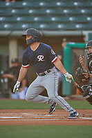 Jack Mayfield (4) of the Tacoma Rainiers at bat against the Salt Lake Bees at Smith's Ballpark on May 13, 2021 in Salt Lake City, Utah. The Rainiers defeated the Bees 15-5. (Stephen Smith/Four Seam Images)