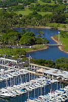 View of Ala Moana beach park and Ala Wai boat harbor from above