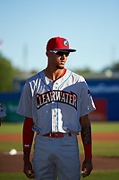 Clearwater Threshers Jose Pujols (23) during introductions before a game against the Dunedin Blue Jays on April 8, 2017 at Florida Auto Exchange Stadium in Dunedin, Florida.  Dunedin defeated Clearwater 12-6.  (Mike Janes/Four Seam Images)