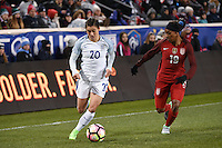 Harrison, NJ - Saturday, March 04, 2017: Karen Carney, Crystal Dunn during a SheBelieves Cup match between the women's national teams of the United States (USA) and England (ENG) at Red Bull Arena.