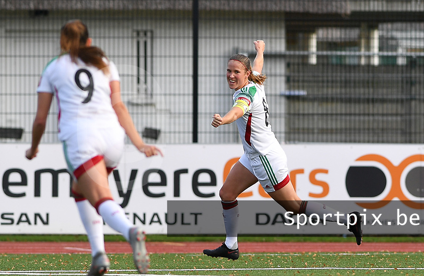 OHL's Lenie Onzia pictured celebrating after scoring a goal during a female soccer game between Club Brugge Dames YLA and Oud Heverlee Leuven on the 8 th matchday of the 2020 - 2021 season of Belgian Scooore Womens Super League , saturday 21 th November 2020  in Knokke , Belgium . PHOTO SPORTPIX.BE | SPP | DAVID CATRY