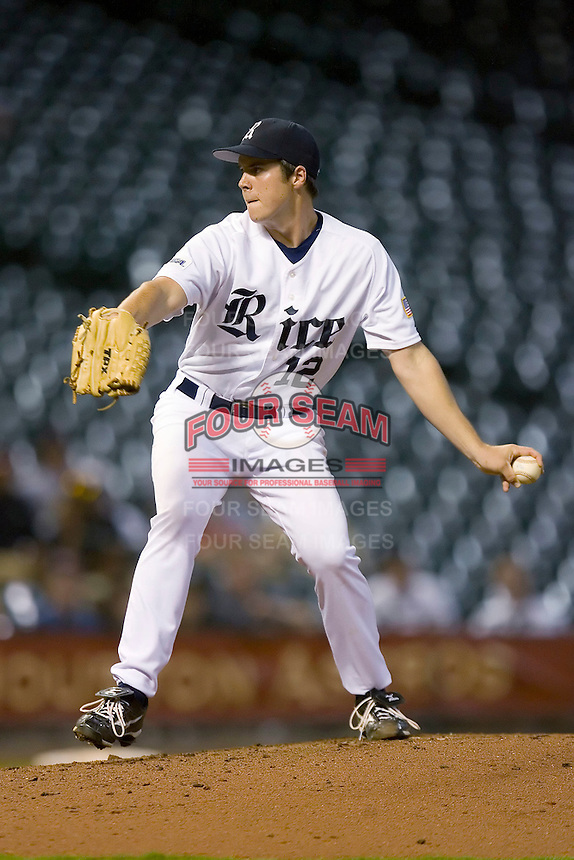 Relief pitcher Matt Evers #12 of the Rice Owls in action versus the UCLA Bruins in the 2009 Houston College Classic at Minute Maid Park February 27, 2009 in Houston, TX.  The Owls defeated the Bruins 5-4 in 10 innings. (Photo by Brian Westerholt / Four Seam Images)