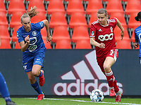 Feli Delacauw (44) of AA Gent, Aster Janssens (5) of Standard  and Lore Jacobs (17) of AA Gent in action during a female soccer game between Standard Femina de Liege and KAA Gent Ladies on the second match day of the 2021 - 2022 season of Belgian Scooore Womens Super League , Saturday 28 th of August 2021  in Liege, Belgium . PHOTO SPORTPIX | SEVIL OKTEM