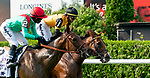 Oleksandra #2, ridden by Joel Rosario, wins the Jaipur Stakes at Belmont race track in Elmont, New York, USA, 20 June 2020. The Belmont is being run without fans due to coronavirus SARS-CoV-2 which causes the Covid-19 disease and while it has always been the third leg of the Triple Crown, due to Covid-19 it is, instead the first leg in 2020.