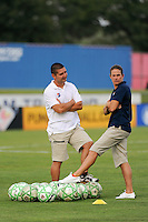 Sky Blue FC head coach Kelly Lindsey and assistant coach Joe Dorini talk before the game. Sky Blue FC and the Washington Freedom played to a 4-4 tie during a Women's Professional Soccer match at Yurcak Field in Piscataway, NJ, on July 15, 2009.