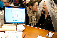 """Amy and Jeri Andrews of Seattle, obtain their marriage license around 1am on December 6th, 2012 at the King County Courthouse. Amy Andrews, """"It's the civil rights moment of our time."""""""