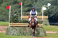 Sam Griffiths riding Gurtera Cher clears fence 5 at The Dewpond, 4th September 2021; Bicton Park, East Budleigh Salterton, Budleigh Salterton, United Kingdom: Bicton CCI 5* Equestrian Event;