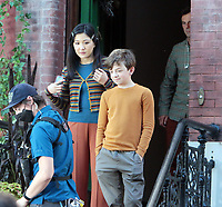 September 24, 2021.Constance Wu, Winslow Fegley, Scoot McNairy filming on location for  Sony pictures Lyle Lyle Crocodile<br />   in New York September 24, 2021 Credit:RW/MediaPunch