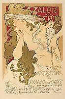 Poster advertising the Salon des Cent Exposition at the Hall de la Plume, 1896 (colour litho), Mucha, Alphonse Marie (1860-1939)