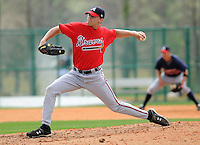 13 March 2009: LHP Tyler Stovall of the Atlanta Braves throws during an intra-squad game at Spring Training camp at Disney's Wide World of Sports in Lake Buena Vista, Fla. Photo by:  Tom Priddy/Four Seam Images