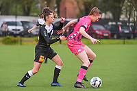 Tiffanie Vanderdonckt (5) of Eendracht Aalst and Estelle Dessilly (13) of Sporting Charleroi pictured during a female soccer game between Sporting Charleroi and Eendracht Aalst on the 8th matchday in play off 2 of the 2020 - 2021 season of Belgian Scooore Womens Super League , tuesday 18 th of May 2021 in Marcinelle , Belgium . PHOTO SPORTPIX.BE   SPP   STIJN AUDOOREN