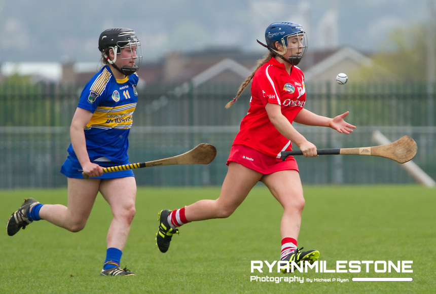 Munster Senior Camogie Championship Semi Final, Cork v Tipperary, Sunday May 8th 2016, Cork Camogie Grounds, Castle Road, Cork.<br /> Cork's Orla Cronin with Tipperary's Mairead Teehan.
