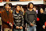 """Tokyo, Dec. 30, 2009 - Arashi boy band members are photographed during the second day of rehearsals for 'Kohaku Uta Gassen,' or also more commonly known as 'Kohaku.' Produced by the Japanese public broadcaster, NHK, this annual music show airs on New Year's Eve and ends shortly before midnight, where everyone on air pauses to say """"Happy New Year."""" The 'Red and White Song Battle' separates the most popular music artists during each given year into teams of red and white: the red team consists of all female artists and the white team is all male artists. For an artist to perform on Kohaku, it is a great honor as only the most successful enka singers and J-Pop artist are strictly invited to perform by invitation only. Today, for a J-Pop artist or enka singer to perform on Kohaku, is most notably recognized to be a big highlight in a singer's career due to the show's large reach of audience during New Year's Eve."""