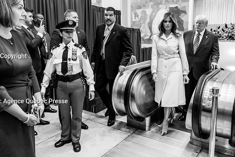 President Trump and First Lady Melania Trump arrive at the United Nations Headquarters in New York, Tuesday, September 24, 2019. (Official White House Photo by Andrea Hanks)