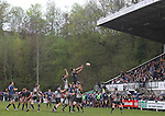 Leinster A flanker Ben Marshall jumps to take the line out ball in front of a packed grandstand.<br /> British & Irish Cup Semi Final<br /> Pontypridd v Leinster A<br /> Sardis Road - Pontypridd<br /> <br /> ©Steve Pope-SPORTINGWALES